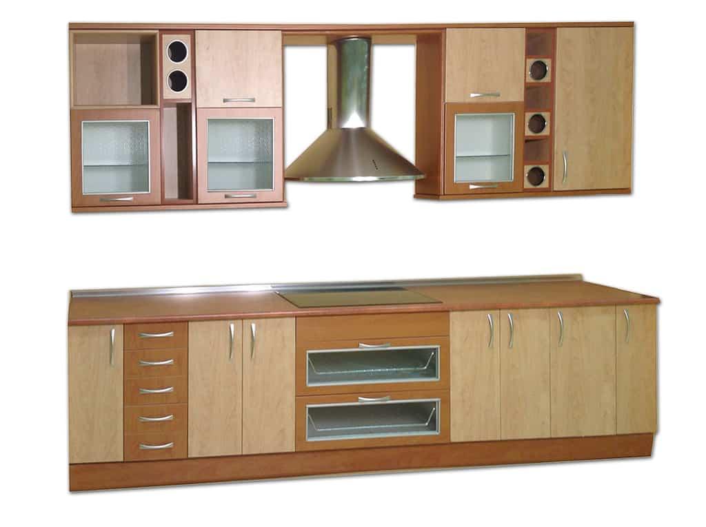 Muebles de cocina en melamina y madera for Muebles de cocina 2 metros